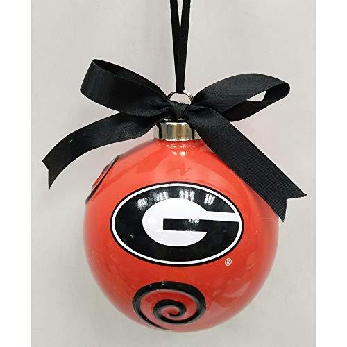 Seasons Designs Georgia Bulldogs Logo Red 4 x 4 Ceramic Christmas Decorative Ball Ornament