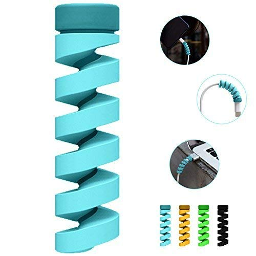 Freshdcart Silicon USB Cable Protector Charger Wire Saver 8 Pieces Covering Set Earphones Winder with Spiral Shape Clip for Android/Laptop/Charging Cords (Pack of 2 Sets, 8 Pieces)