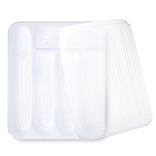 Flatware Plastic Organizers Tray With Lid Kitchen Cutlery