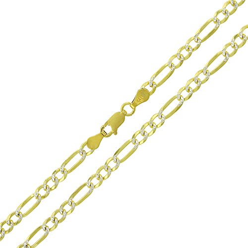 Elite Anti-Tarnish - 4mm Figaro Link - Patented ITProLux - 925 Sterling Silver - Diamond-Cut Pave - 14K Yellow Gold - Solid Necklace Chain - Made In Italy - 16