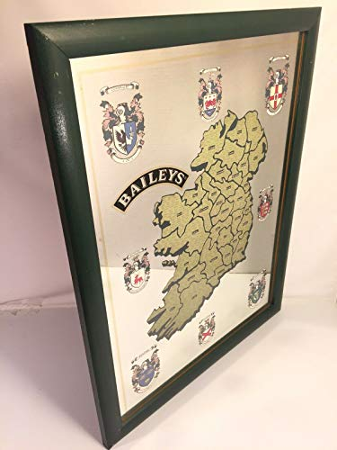 Baileys Irish Cream Vintage Bar Mirror Sign Name Map Pub Man Cave Decor