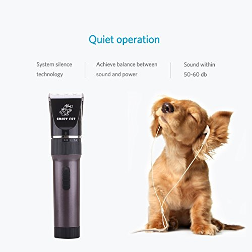 ENJOY PET Dog Clippers Cat Shaver, Professional Hair Grooming Clippers Detachable Blades Cordless Rechargeable, Pet Clipper Kit with Scissor, Combs, Guards for Dog Cat, Quiet Animal Clippers (Brown) by ENJOY PET (Image #5)