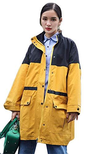 Huixin Giacca Primaverile Gelb A Coat Outerwear Cappotto Forti Manica Autunno Tasche Casual Chiusura Lunga Cerniera Donna Taglie Fidanzato Fashion Costume Giaccone Con r5q1ETr