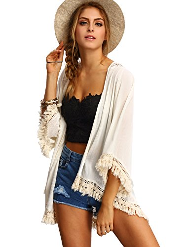 SweatyRocks Kimono Cardigan Beige Fringe Lace Tassel Cover Up Blouse , Beige , One Size