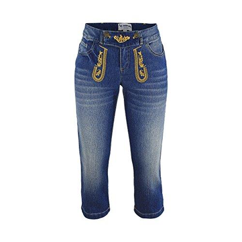 Jeans Jeanshose Capri Caprijeans Damen Hose Bestickt Freizeit Business Blau stonewashed Baumwolle