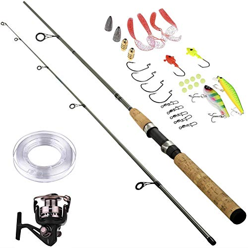 PLUSINNO Fishing Rod Reel Combos Full Kit,Carbon Telescopic Fishing Rod Pole Spinning Reel Travel Saltwater Freshwater Fishing Rod Kit