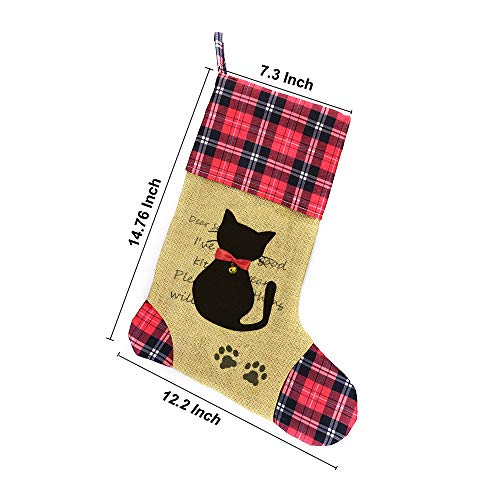 Wendsim Christmas Stocking for Pet Dog Cat with Red Bowknot Pet Stocking for Personalize (Cat) - coolthings.us