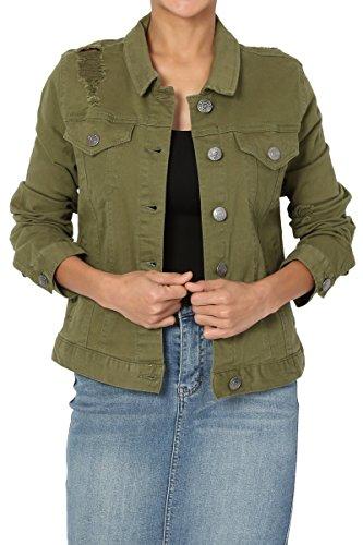 TheMogan Junior's Distressed Color Washed Jean Stretch Denim Jacket Olive - Denim Green