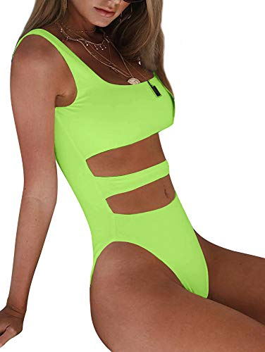 BEAGIMEG Women's Tank Top Cut Out Sleeveless Bodice Bodysuit Party Clubwear Fluorescent Green