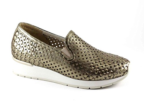 MELLUSO WALK R20006 zapatos de oro del amanecer mujer plantar extraíble mocasín Oro