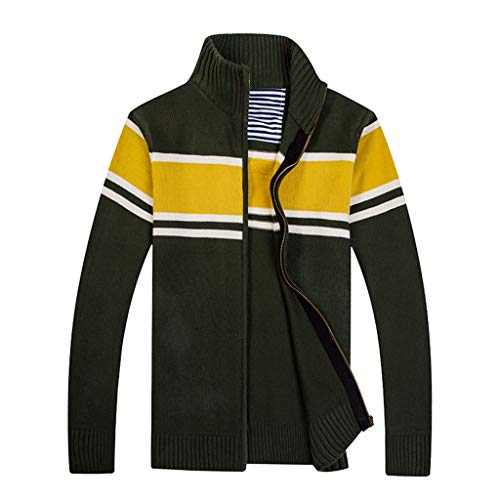 wuliLINL Men Open Front Long Sleeve Knit Cardigan Sweaters Loose Outwear Coat(Green,XXL) (Polo Ralph Lauren Striped Knit Dress Shirt)