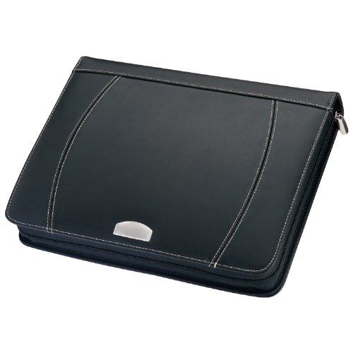 Schreibmappe - Aktenmappe (Lederfaserstoff) - Reißverschluss, Rechner, A4 Block und diverse Fächer - schwarz