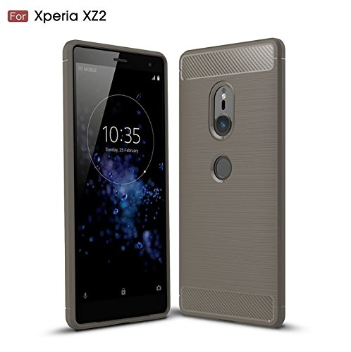 Sony Xperia XZ2 Case, TopACE Ultra Thin Carbon Fiber Scratch Resistant Shock Absorption Soft TPU Protective Cover for Sony Xperia XZ2 (Gray)