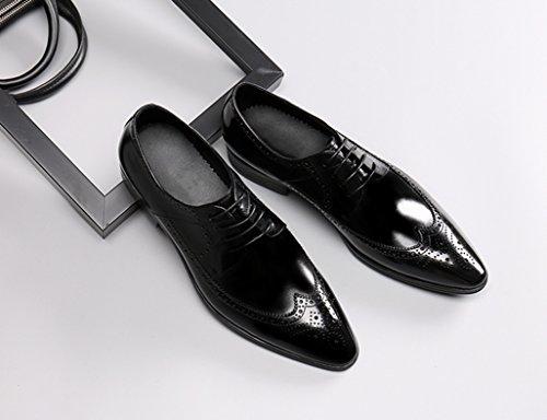 HWF Scarpe Uomo in Pelle Scarpe in pelle da uomo business Cerimonia pizzo a punta scarpe da sposa stile britannico (Colore : Nero, dimensioni : EU40/UK6.5) Nero