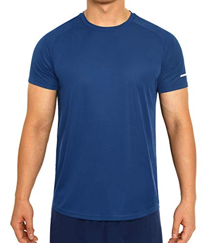 Quick Dry Gym T-Shirts for Men Short Sleeve Athletic Running Shirts Mens Lightweight Outdoor Workout Tshirts (X-Large, Blue) ()