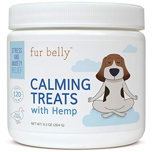 fur belly Calming Treats for Dogs with Organic Hemp Oil - Dog Anxiety Relief - Natural Dog Calming Aid for Separation, Stress, Barking, Jumping, Aggression - 120 Soft Chew Dog Treats - Made in USA