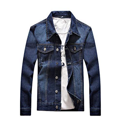 Mens Classic Slim Fit Motorcycle Denim Jacket Coats Outwear(Blue2-XXXX-Large)