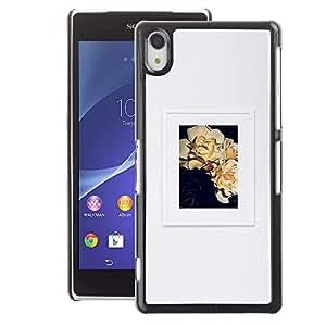 A-type Arte & diseño plástico duro Fundas Cover Cubre Hard Case Cover para Sony Xperia Z2 (Poster Grey Floral Art Frame Picture)