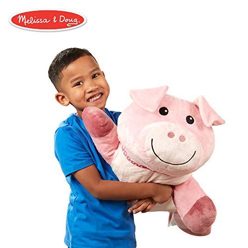 Melissa & Doug Cuddle Pig Jumbo Plush Stuffed Animal (Reusable Activity Card, Nametag, Over 2 Feet Long)