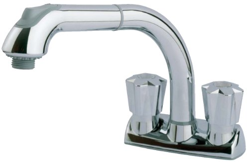 CLEANFLO 480, Pull Out Laundry Faucet, 3 Hole Installation, High 8 INCH-Arc Spout, 2 Handles, 2 Spray Settings, Advanced High-Quality Polymer Materials, Lead-Free, Non Corrosive, Chrome Finish (3 8 Faucet Hose)
