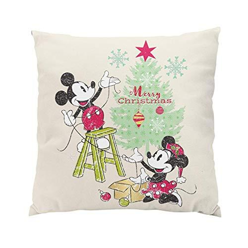 HFYZT Disney Mickey Minnie Classic Christmas Tree Romantic Hidden Zipper Home Sofa Decorative Throw Pillow Cover Cushion Case 18x18 Inch Square Two Sides Design Printed Pillowcase
