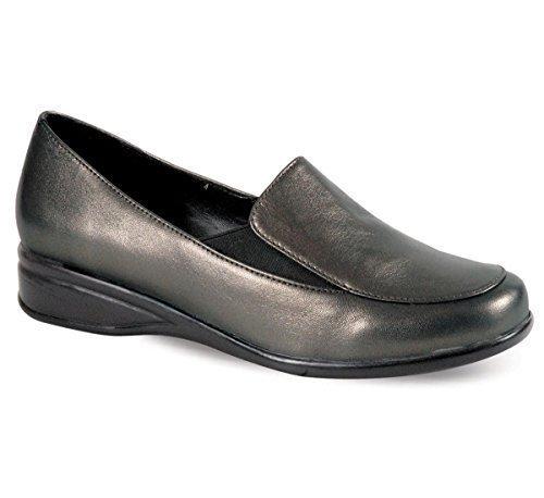Fantasia confortable Étain étain Boutique noir petites large femmes pied compensé dames cuir chaussures r7r81wq