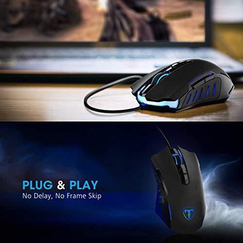 Programmable PICTEK Gaming Mouse Wired Breathing Light Ergonomic 7200 DPI
