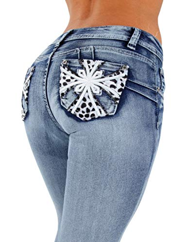 Colombian Design, Butt Lift, Levanta Cola, Skinny Jeans in Washed Blue Size -