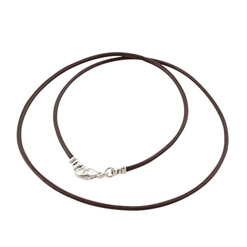 Silver Leather Necklace - Sterling Silver 1.8mm Fine Brown Leather Cord Necklace - 26 inches