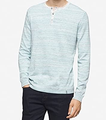 Calvin Klein Mens Space Dyed Long Sleeve Henley Shirt Blue M