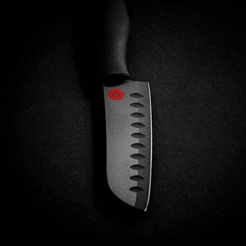 Kikusumi 4-Piece Chef Knife Gift Set Bundle - SUMI Black Handle + Black Ceramic Blade - 7 inch Gyuto Chef Knife + 5 inch Santoku + 3 inch Paring + 8 inch Serrated Bread Knife + 4 Knife Sheaths by Kikusumi (Image #7)