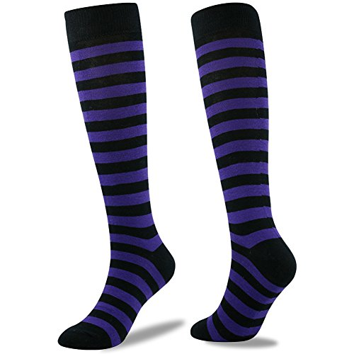 Stripe Soccer Socks, SUTTOS Adult Men and Women Cushioning Winter Warm Team Cycling Hockey Football Skiing All Sport Socks School Group Socks Back to School Socks For Gift Purple Black Pack of 2