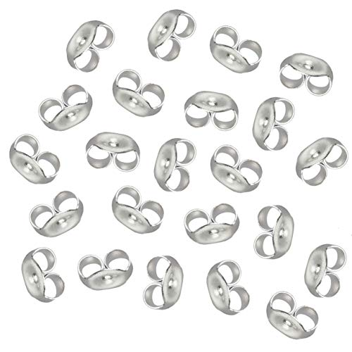 Earring Backs - 12-Pair 925 Sterling Silver Earring Backs, Post Earring Backs Replacements, 4.8mm Butterfly Earring Stoppers for Post Earrings, 24 Pieces Total