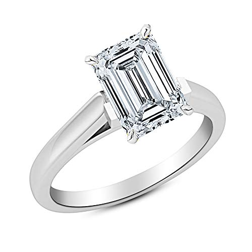 0.4 Ct Emerald Cut Cathedral Solitaire Diamond Engagement Ring 14K White Gold (E Color SI2 Clarity)