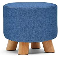 Awesome Warehouse Pouffe Ottoman Foot Rest Stool,Small Shoe Bench with Feet Protection | Round - 4 Wooden Legs - Blue