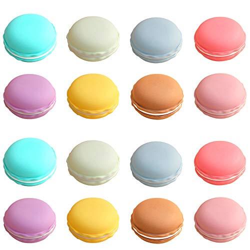 Rocutus 16 Pieces Macaron Case,Candy Color Mini Macaron Box, Macaron Jewelry Box, Macaron Cute Pill Box, Macaron Jewelry Storage Box, Cute Pill Organizer Case (Macaron Party Supplies)