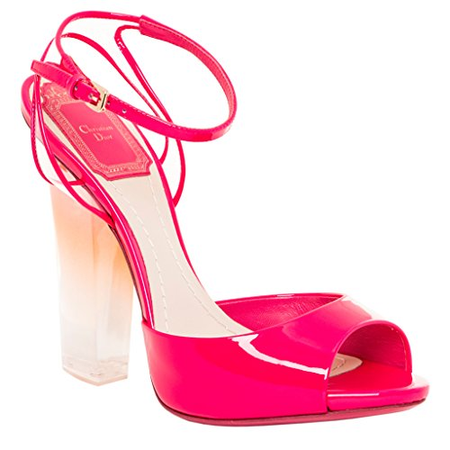 Christian Dior Women's Patent Reflect Plexi Sandals Patent Leather Hot Pink 38 M EU