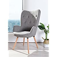 Grey Fabric Button Tufted Leisure Club Arm Chair - Mid-Century Style