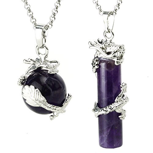 BEADNOVA 2pcs Dragon Wrapped Round Ball Cylinder Natural Amethyst Gemstone Necklace Healing Couple Pendant Necklaces Set - Traditional Round Ball
