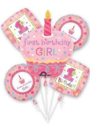 (1ST First Birthday Girl Cupcake 5 Balloon Bouquet Kit)