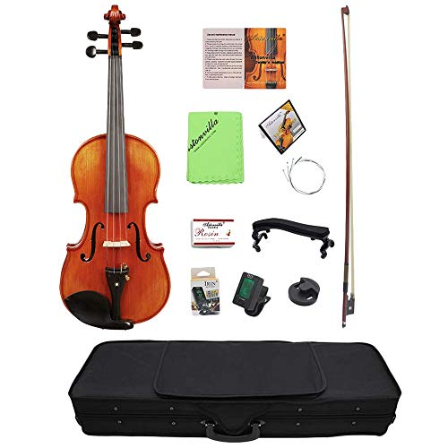 SODIAL 4/4 Violin Solid Carved Spruce Top Flame Maple Handmade Professional Violin With Oblong Case And Bow (Frame Grade Maple Paint)