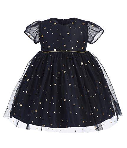 - Burgundy Navy Blue Baby Girls Dress Star Gold Flower Christmas Holiday Wedding Party Birthday (6-12 Months, Navy Blue)