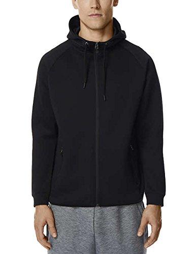 32 DEGREES Men's Hoodie Sweatshirt Full Zip Tech Fleece Track Jacket (Black, Large) -
