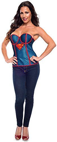 Rubie's Costume Women's DC Comics Supergirl Corset with Fishnet Overlay, Blue/Red, Small (Supergirl Sexy Costume)