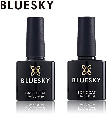 Bluesky Top and Base Coat Gel Nail Polish Set, UVLED Soak Off Gel Polish, 10ml
