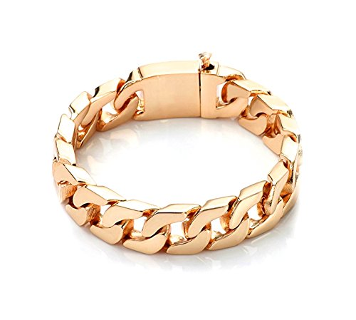 Gold Cuban Link Bracelet 14MM Round Solid Fashion Jewelry 24K Gold Filled Miami Cuban link Diamond Cut (9) by Hollywood Jewelry (Image #3)