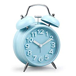 GOODPARTNER 4 Mini Non-Ticking Vintage Classic Bedside/Table Analog Alarm Clock with Backlight, Imitation Wood Grain Look, Timer Round Twin Bell Loud Daily Alarms for Kids(3D Blue)