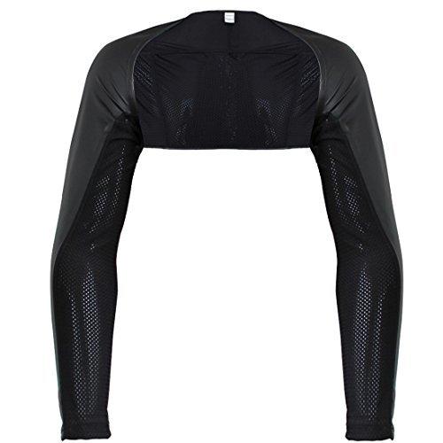 TIAOBU Mens Faux Leather Hollow Arm Sleeves Shrug Size Large