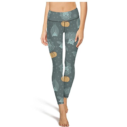 Keppel Teerd Women's Bat Pumpkin Halloween Pattern Sexy High Waist Yoga Pants Fitness Workout Leggings -