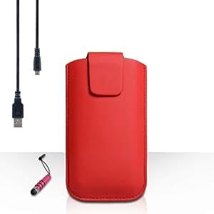 Yousave Accessories–Carcasa Samsung Galaxy J1(2016) funda de piel Lichee PU rojo Pocuh funda con Mini lápiz capacitivo y Cable de carga micro USB